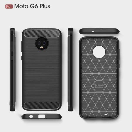 Motorola Moto G6 Plus TPU Case Carbon Fiber Optik Brushed Schutz Hülle Schwarz – Bild 7