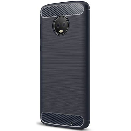 Motorola Moto G6 Plus TPU Case Carbon Fiber Optik Brushed Schutz Hülle Blau