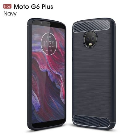 Motorola Moto G6 Plus TPU Case Carbon Fiber Optik Brushed Schutz Hülle Blau – Bild 2