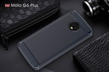 Motorola Moto G6 Plus TPU Case Carbon Fiber Optik Brushed Schutz Hülle Blau – Bild 3