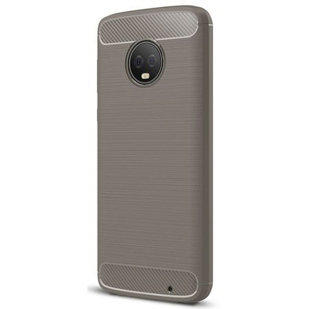 Motorola Moto G6 Plus TPU Case Carbon Fiber Optik Brushed Schutz Hülle Grau