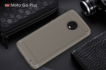 Motorola Moto G6 Plus TPU Case Carbon Fiber Optik Brushed Schutz Hülle Grau – Bild 3