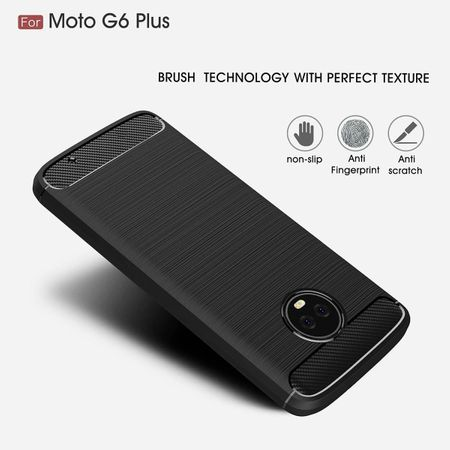Motorola Moto G6 Plus TPU Case Carbon Fiber Optik Brushed Schutz Hülle Grau – Bild 6