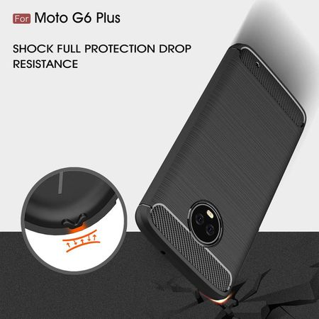 Motorola Moto G6 Plus TPU Case Carbon Fiber Optik Brushed Schutz Hülle Grau – Bild 7