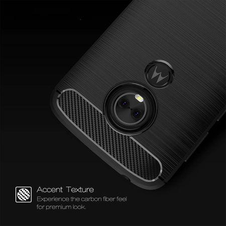 Motorola Moto E5 TPU Case Carbon Fiber Optik Brushed Schutz Hülle Grau – Bild 4