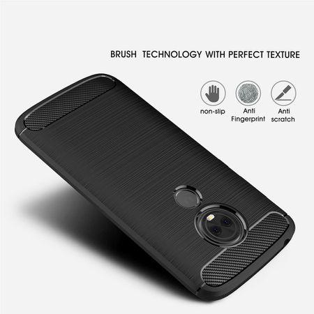 Motorola Moto E5 TPU Case Carbon Fiber Optik Brushed Schutz Hülle Grau – Bild 5