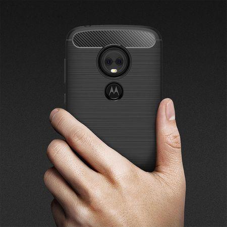 Motorola Moto E5 Plus TPU Case Carbon Fiber Optik Brushed Schutz Hülle Blau – Bild 3