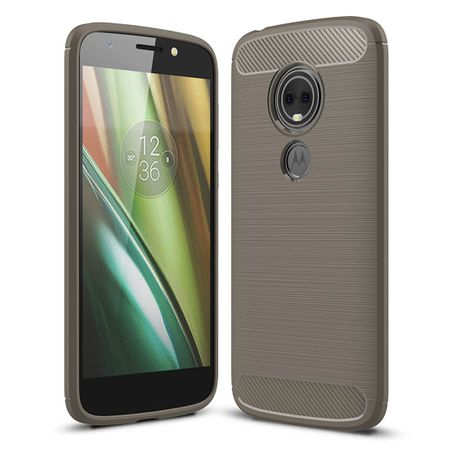 Motorola Moto E5 Plus TPU Case Carbon Fiber Optik Brushed Schutz Hülle Grau