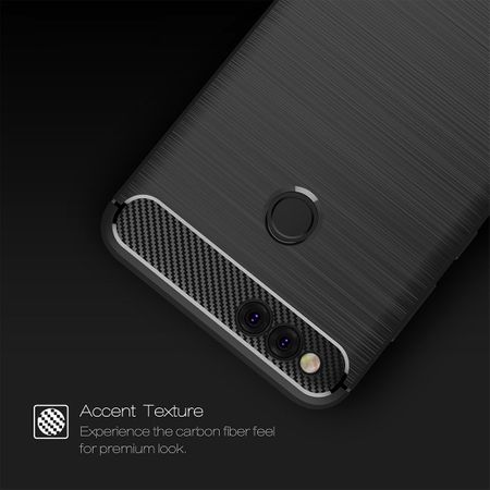 Huawei Honor 7X TPU Case Carbon Fiber Optik Brushed Schutz Hülle Blau – Bild 3