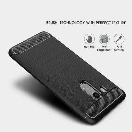 HTC U11 Eyes TPU Case Carbon Fiber Optik Brushed Schutz Hülle Blau – Bild 3