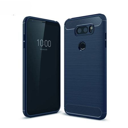 LG V30S TPU Case Carbon Fiber Optik Brushed Schutz Hülle Blau