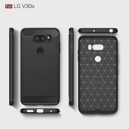 LG V30S TPU Case Carbon Fiber Optik Brushed Schutz Hülle Blau – Bild 7