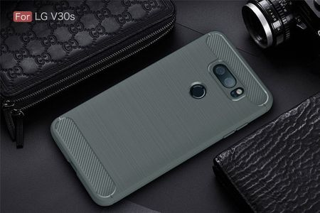 LG V30S TPU Case Carbon Fiber Optik Brushed Schutz Hülle Grau – Bild 2