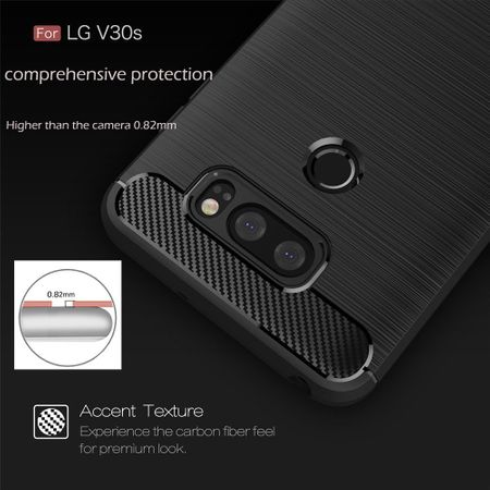 LG V30S TPU Case Carbon Fiber Optik Brushed Schutz Hülle Grau – Bild 5