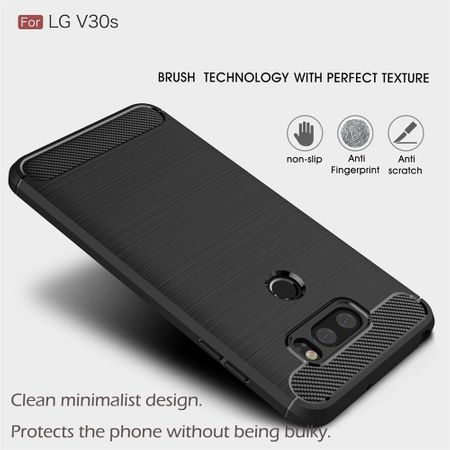 LG V30S TPU Case Carbon Fiber Optik Brushed Schutz Hülle Grau – Bild 6