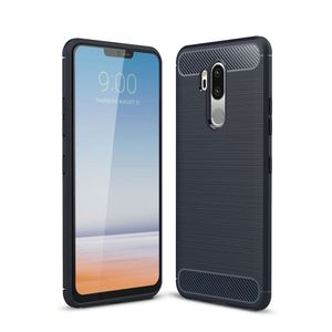 LG G7 TPU Case Carbon Fiber Optik Brushed Schutz Hülle Blau