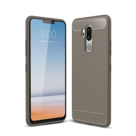 LG G7 TPU Case Carbon Fiber Optik Brushed Schutz Hülle Grau