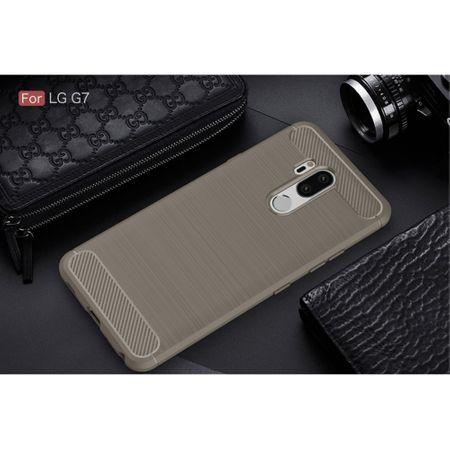 LG G7 TPU Case Carbon Fiber Optik Brushed Schutz Hülle Grau – Bild 2