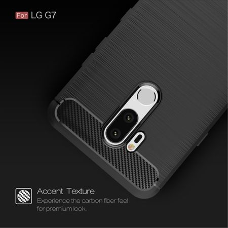 LG G7 TPU Case Carbon Fiber Optik Brushed Schutz Hülle Grau – Bild 5