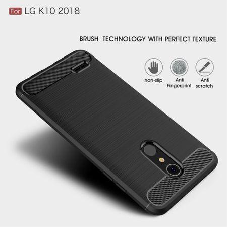 LG K10 (2018 EU) TPU Case Carbon Fiber Optik Brushed Schutz Hülle Schwarz – Bild 4