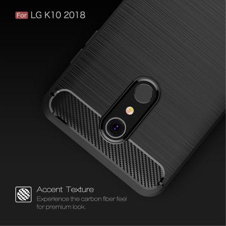 LG K10 (2018 EU) TPU Case Carbon Fiber Optik Brushed Schutz Hülle Blau – Bild 6