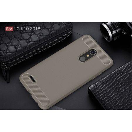 LG K10 (2018 EU) TPU Case Carbon Fiber Optik Brushed Schutz Hülle Grau – Bild 2