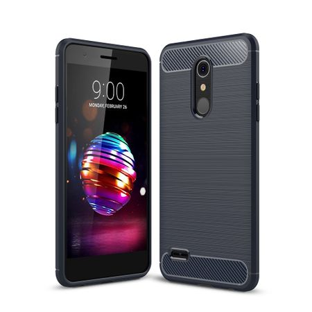 LG K8 (2018 EU) TPU Case Carbon Fiber Optik Brushed Schutz Hülle Blau