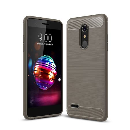 LG K8 (2018 EU) TPU Case Carbon Fiber Optik Brushed Schutz Hülle Grau