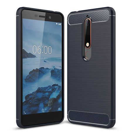 Nokia 6 (2018) TPU Case Carbon Fiber Optik Brushed Schutz Hülle Blau