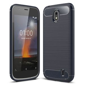 Nokia 1 TPU Case Carbon Fiber Optik Brushed Schutz Hülle Blau