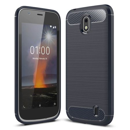 Nokia 1 TPU Case Carbon Fiber Optik Brushed Schutz Hülle Blau – Bild 1