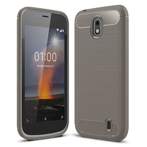 Nokia 1 TPU Case Carbon Fiber Optik Brushed Schutz Hülle Grau