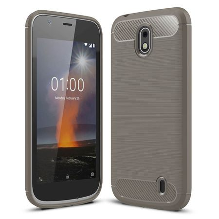 Nokia 1 TPU Case Carbon Fiber Optik Brushed Schutz Hülle Grau – Bild 1