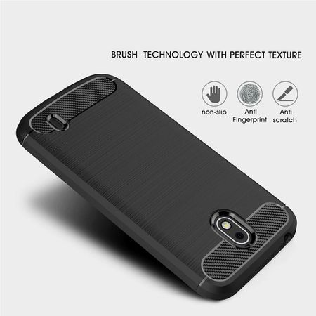Nokia 1 TPU Case Carbon Fiber Optik Brushed Schutz Hülle Grau – Bild 5
