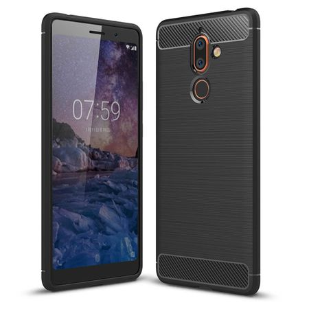 Nokia 7 Plus TPU Case Carbon Fiber Optik Brushed Schutz Hülle Schwarz