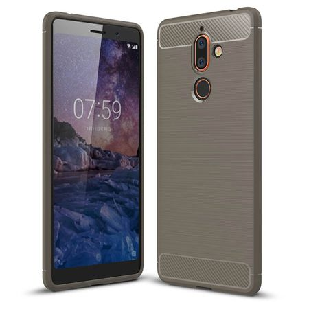 Nokia 7 Plus TPU Case Carbon Fiber Optik Brushed Schutz Hülle Grau