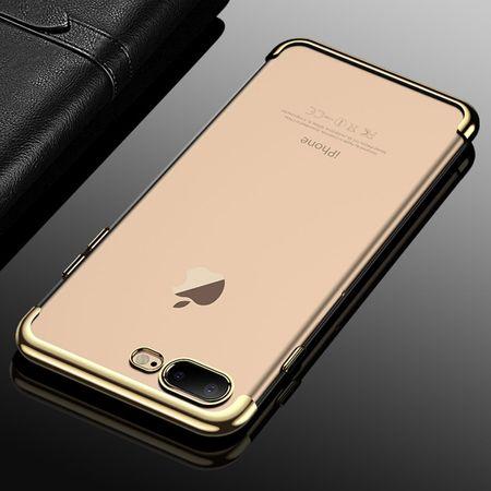 Handy Hülle Schutz Case für Apple iPhone 7 / 8 Plus Durchsichtig Transparent Gold