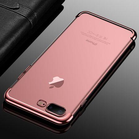 Handy Hülle Schutz Case für Apple iPhone 7 / 8 Plus Durchsichtig Transparent Rose Pink