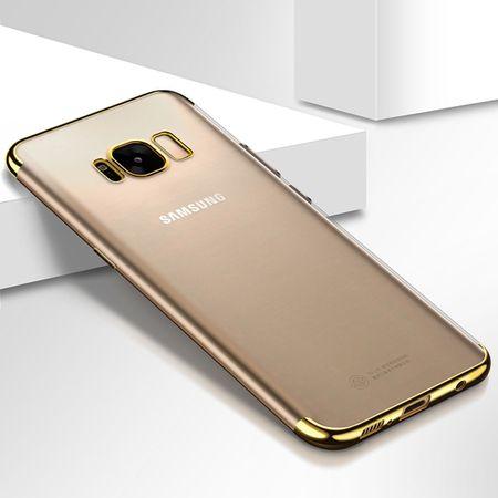 Handy Hülle Schutz Case für Samsung Galaxy A8 2018 Durchsichtig Transparent Gold