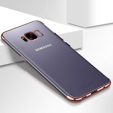Handy Hülle Schutz Case für Samsung Galaxy A8 2018 Durchsichtig Transparent Rose Pink