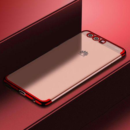 Handy Hülle Schutz Case für Huawei P20 Lite Durchsichtig Transparent Rot
