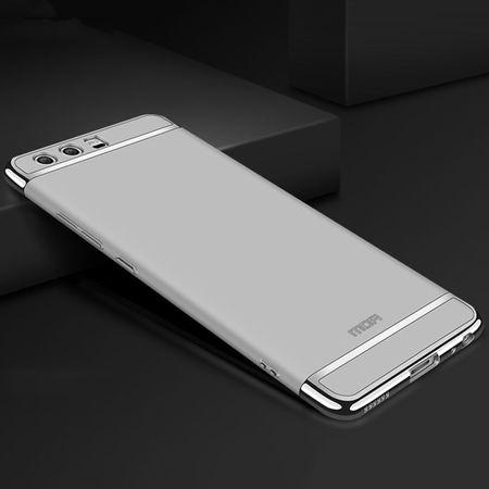 Handy Hülle Schutz Case für Huawei P20 Bumper 3 in 1 Cover Chrom Etui Silber