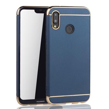 Handy Hülle Schutz Case für Huawei P20 Lite Bumper 3 in 1 Cover Chrom Etui Blau – Bild 2