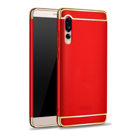 Handy Hülle Schutz Case für Huawei P20 Pro Bumper 3 in 1 Cover Chrom Etui Rot