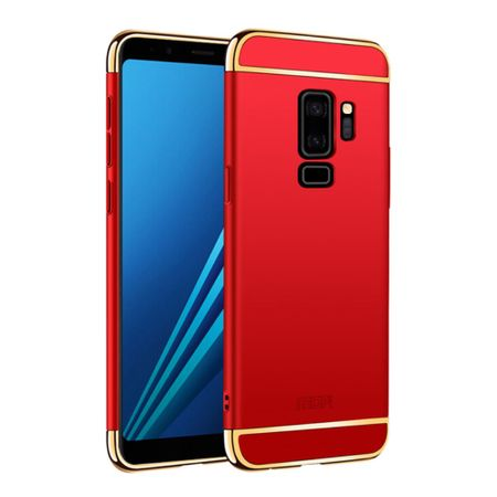 Handy Hülle Schutz Case für Samsung Galaxy S9 Plus Bumper 3 in 1 Cover Chrom Etui Rot – Bild 1