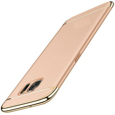 Handy Hülle Schutz Case für Samsung Galaxy A6 Plus 2018 Bumper 3 in 1 Cover Chrom Etui Gold