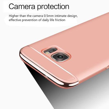 Handy Hülle Schutz Case für Samsung Galaxy A8 Plus 2018 Bumper 3 in 1 Cover Chrom Etui Schwarz – Bild 4