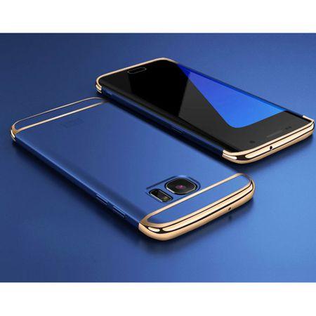 Handy Hülle Schutz Case für Samsung Galaxy A8 Plus 2018 Bumper 3 in 1 Cover Chrom Etui Blau – Bild 2