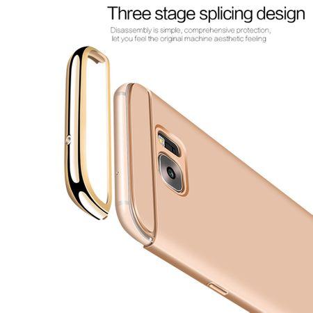 Handy Hülle Schutz Case für Samsung Galaxy A8 Plus 2018 Bumper 3 in 1 Cover Chrom Etui Blau – Bild 3