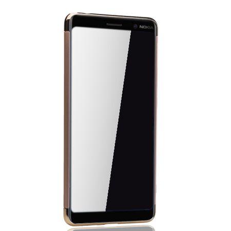 Handy Hülle Schutz Case für Nokia 7 Plus Bumper 3 in 1 Cover Chrom Etui Gold – Bild 3